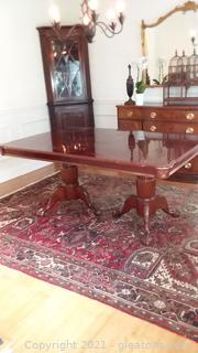 Cherry Finish Double Pedestal Rectangular Dining Room Table with 1 Leaf