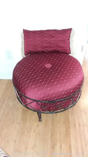 Simple Burgundy Metal Base Ottoman with Matching Pillow