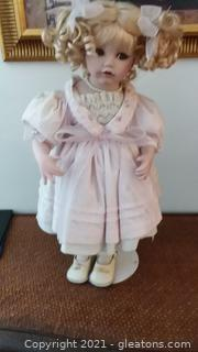 """Beautiful 20"""" Porcelain Doll with Blonde Ringlets"""