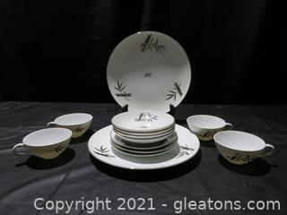 Hand Painted Silver and Gold Ozone China Made in Japan- 13 Pieces