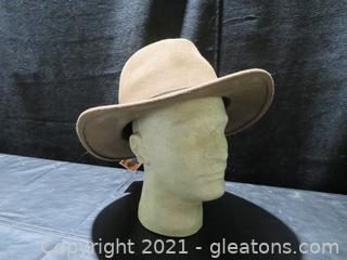 Water Repellent Brown Wool Felt Men's Hat-Size 3XL