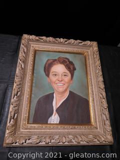 Oil Painting of Woman with Gilded Wood Frame
