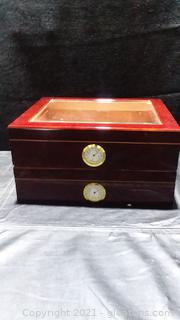 2 Gleaming Cigar Humidors with Hygrometers