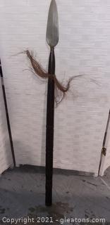 Vintage Hand Carved Wooden Handled Spear