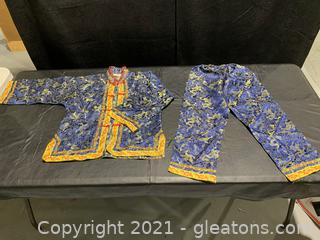Intricate Children's Asian Silk Jacket W/Bottoms