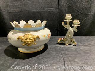 Asian Inspired Decorative Ceramic Bowl & Candle Holder