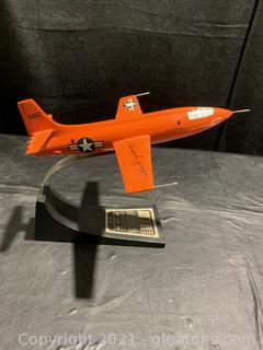 Signed Autograph of Chuck Yeager on USAF Bell X-1 Chuck Yeager Jet Rocket Model Aircraft