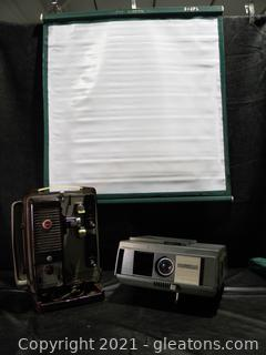 Vintage Projector Lot with Screen
