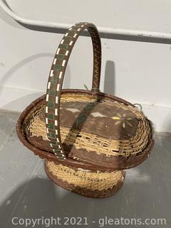 1920s Wicker & Leather Basket
