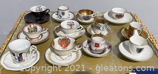 Set of 12 European Countries Tea Cups