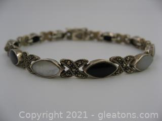 Sterling Silver Onyx, Mother of Pearl and Marcasite Bracelet