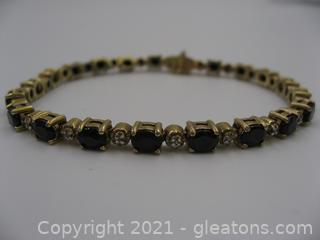 Sapphire and Diamond Bracelet in Gold Plated Silver
