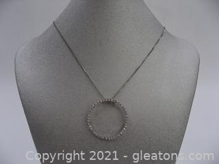 Cubic Zirconia Circle Necklace in Sterling Silver