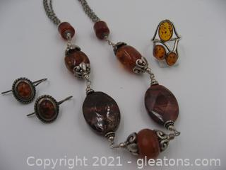 Amber Necklace, Ring and Earrings Set