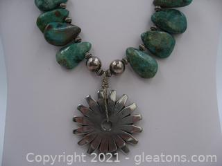 Beautiful Heavy Turquoise Necklace