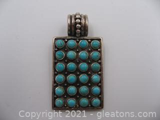 Sterling Silver Turquoise Tile Pendant