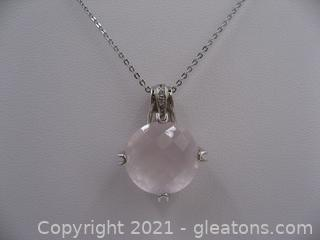 Rose Quartz and White Topaz Necklace in Sterling Silver