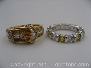 2 Sterling Silver Cubic Zirconia Rings