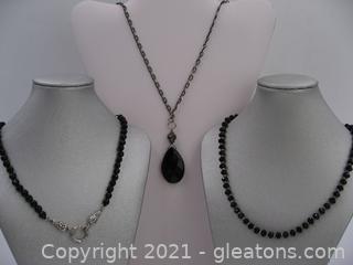 Set of 3 Black Fashion Necklaces
