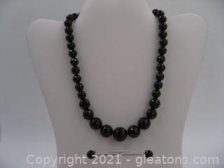 Beautiful Onyx Beaded Necklace and Earring Set in Sterling Silver