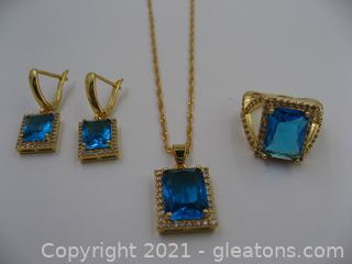 Gold Plated Blue Glass Necklace, Ring and Earring Set