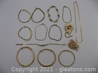 Lot of Gold Toned Costume Jewelry
