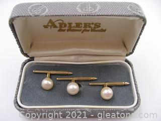 14kt Yellow Gold Pearl Tuxedo Buttons