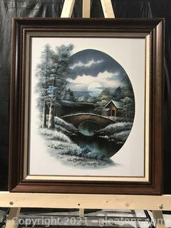 Nathan Original Oil Painting Snow Covered Bridge