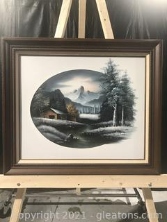 Nathan Original Oil Painting Winter Village Landscape