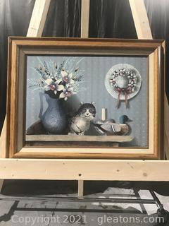 Charming Cat Artwork Signed Hamilton