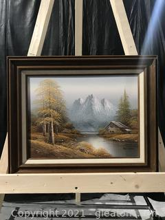 Vintage Mountain & Trees Painting Signed Alan Lampert