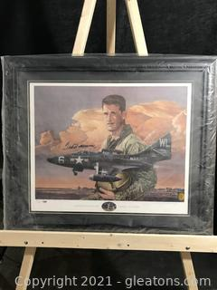 Ted Williams Autographed USMC F9F Panther Lithograph