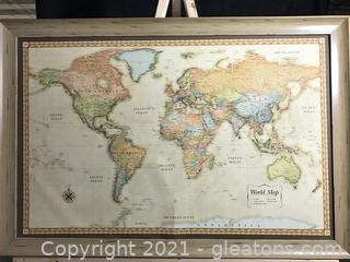 Large Framed World Map Classic Edition