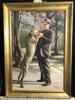 Painting of Old Man and Dog