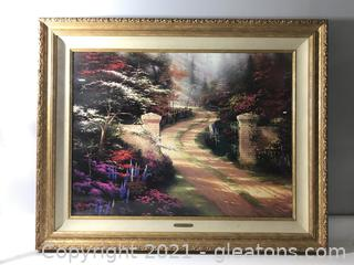 "Thomas Kinkade ""Spring Gate"" Framed on Canvas Classic Collection Painting"