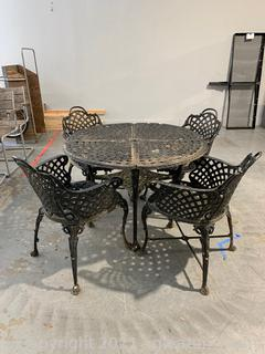 Antique Wrought Iron 5 Piece Patio Set