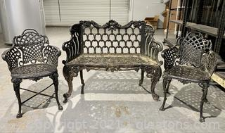 Antique Wrought Iron 3 Piece Patio Set