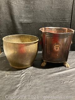 Lot of 2 Planters, Footed Brown Planter W/Lion Face Detail and Brass-look Planter