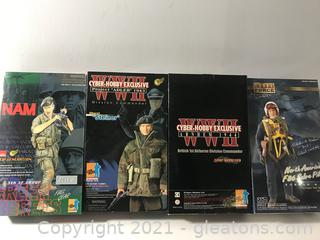 Four WWII Action Figure Collectibles