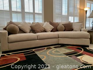 Natural Suede Curved Sectional