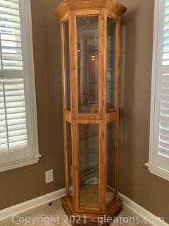 Unique Octagon Wood Curio Cabinet