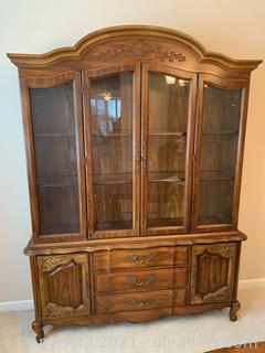 Bernhardt China Hutch With Beautiful Carved Wood Detail