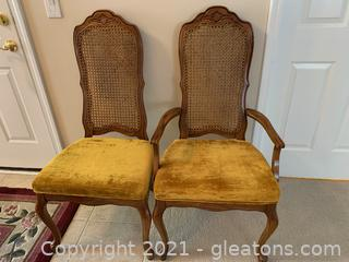 Lovely Bernhardt Cained Dining Chair. 1 Arm, 1 Side Chair (Lot of 2)