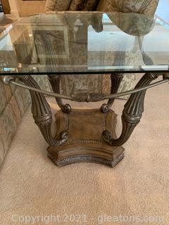 Unique Glasstop Side Table W/ Metal Base