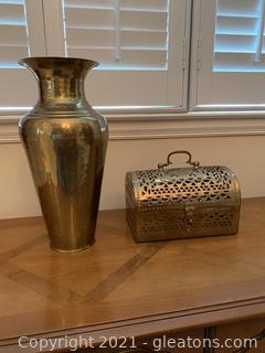 Ornate Brass Filigree Pierced Cut Keepsake box & Brass Vase