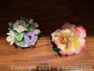 Capodimonte Porcelain Flower & Royal Adderly Floral Bouquet (Lot of 20