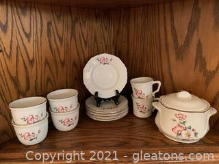 House of Webster Ceramic Teacups, Saucers & Covered Small Dish (Lot of 13)