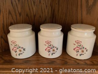 House of Webster Ceramics, 3 Canisters W/ Lids