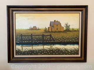 Farm House Signed Framed Painting