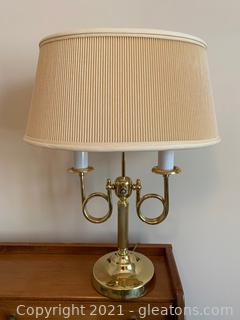 Brass 2 Candle Office Lamp